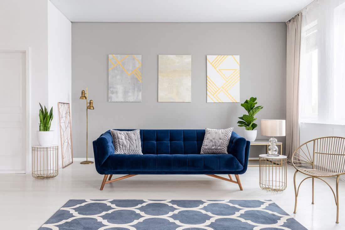 An elegant navy blue sofa in the middle of a bright living room interior with gold metal side tables and three paintings on a gray wall