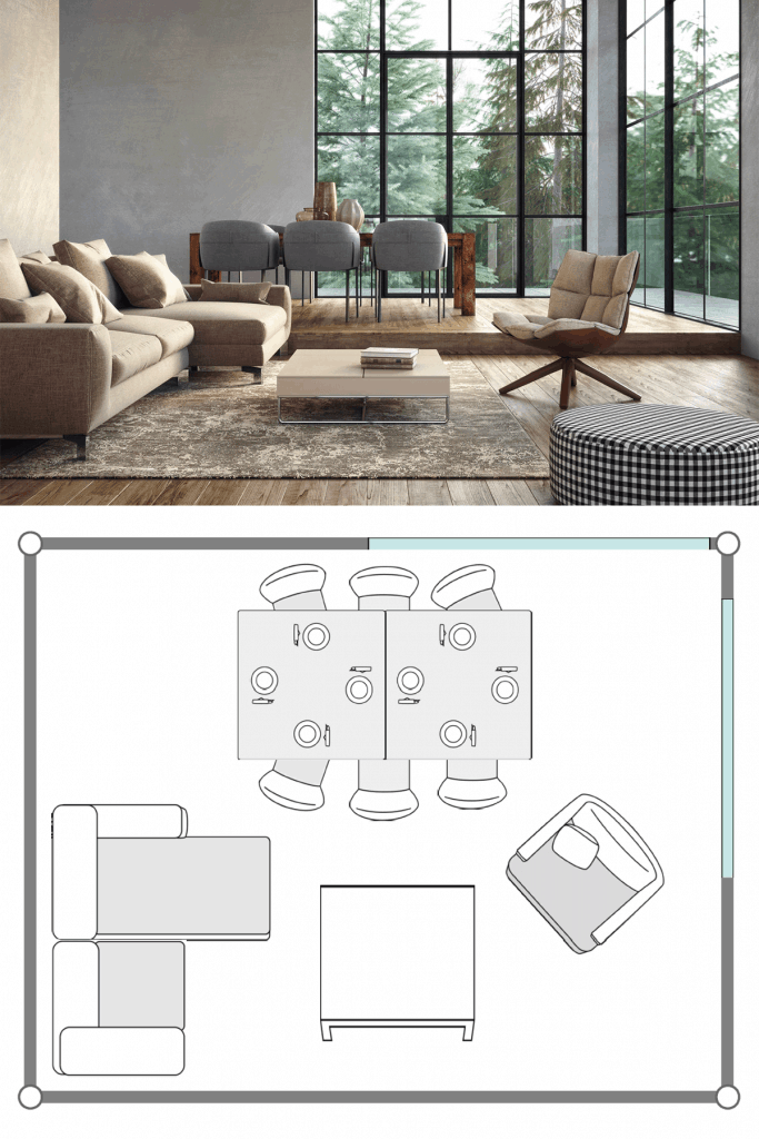 An open space deigned living room with a brown sectional sofa, gray dining chairs, and a small coffee table on the center