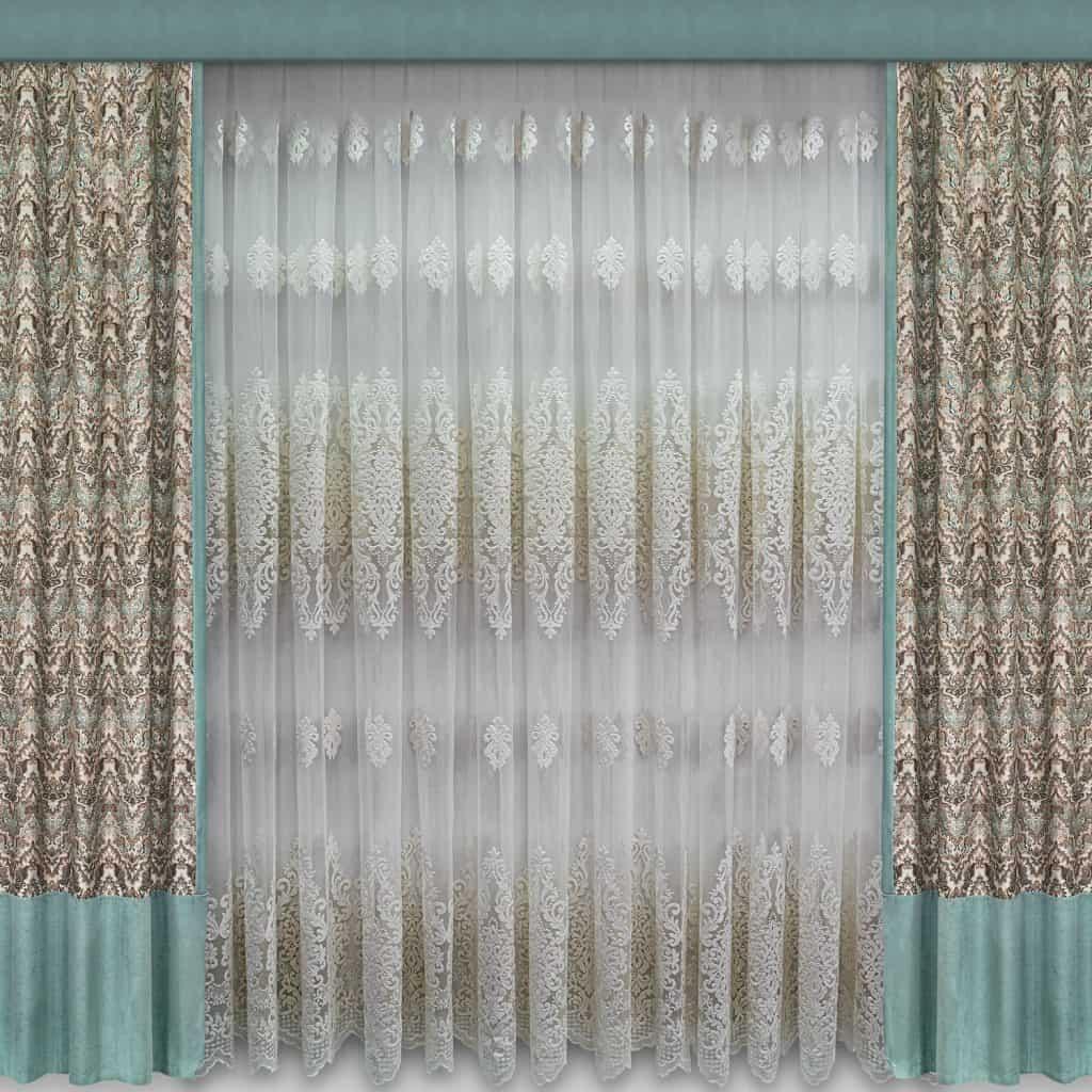 An ornamental curtain with volumetric patterns