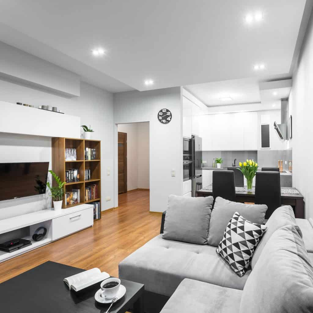 An ultra luxurious modern living room apartment with white walls, gray and wooden furniture's and sofas