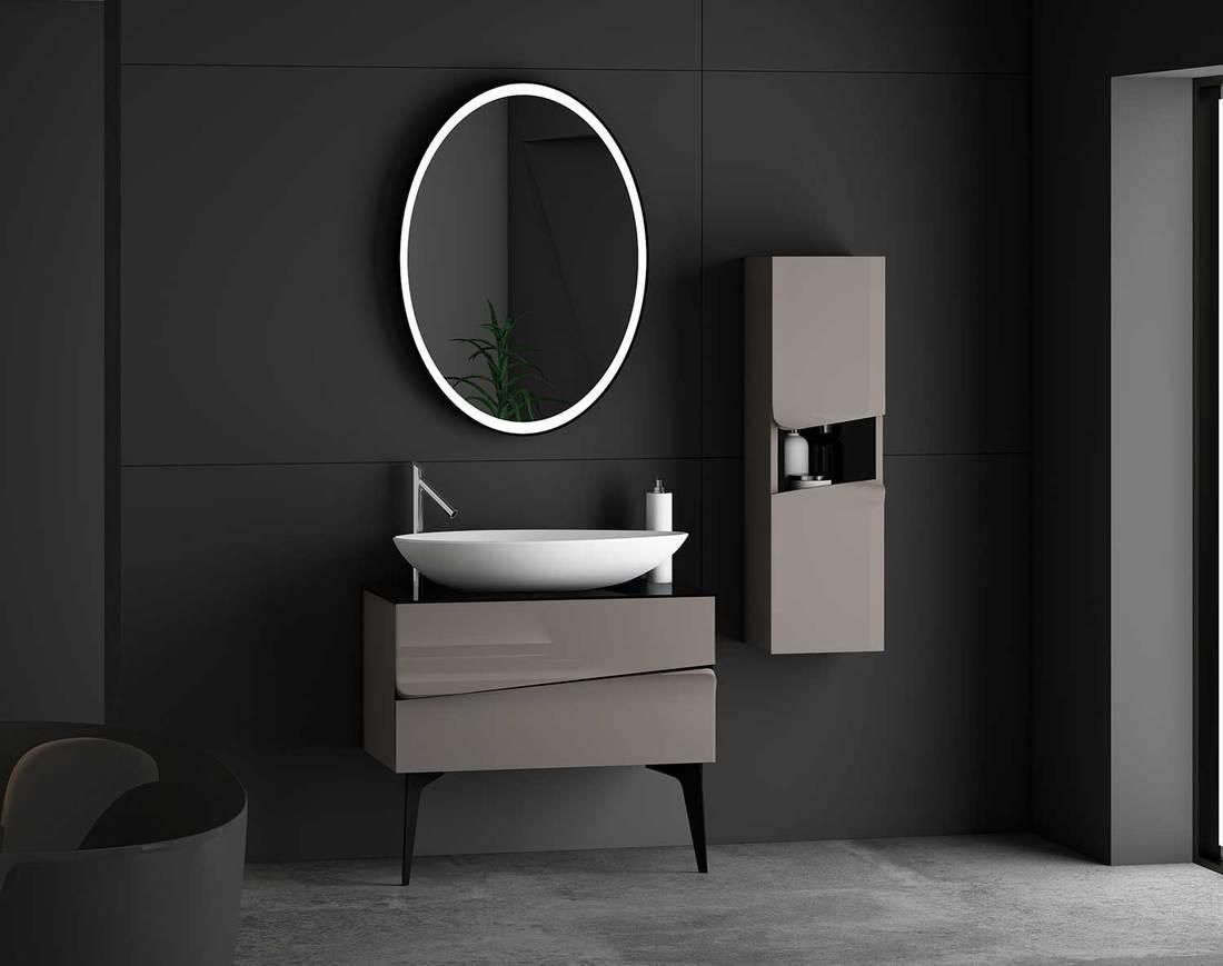 Bathroom interior with bathroom furniture set includes bathroom accessories