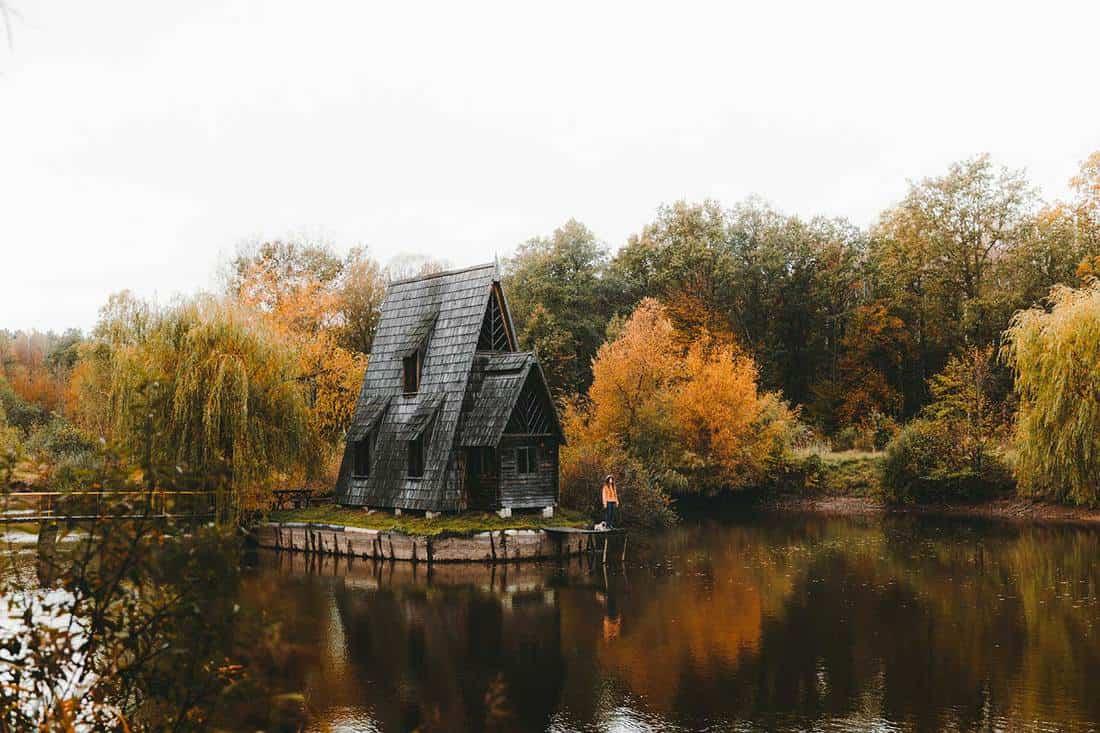 Beautiful triangle-shaped house at the lake