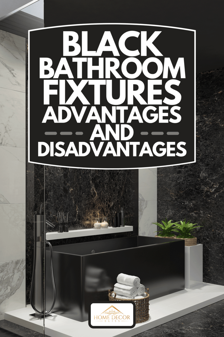 A trendy and modern home spa bathroom with matte black and white marble tiles, black stone wall in bath and stove light, Black Bathroom Fixtures Advantages And Disadvantages