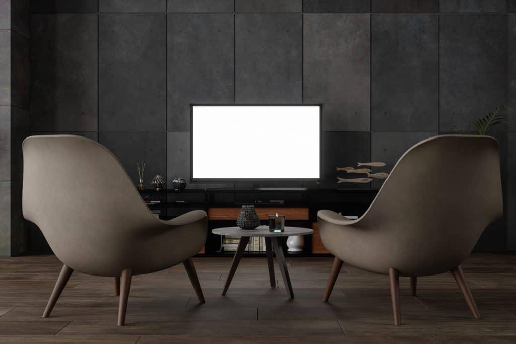 Black Smart Tv On Wooden Cabinet
