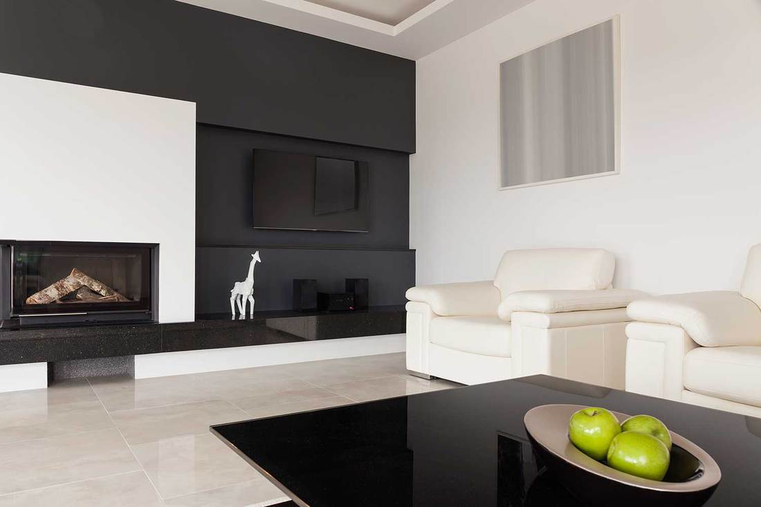 Black and white living room with fireplace and giraffe decor