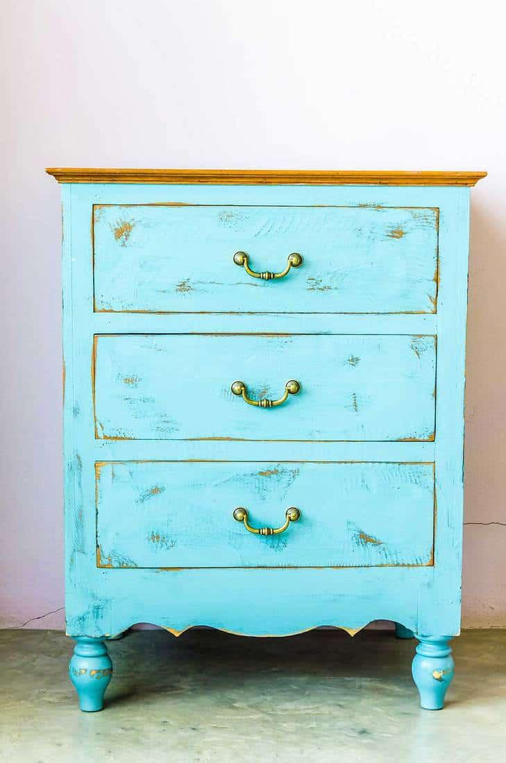 Blue wooden dresser drawer