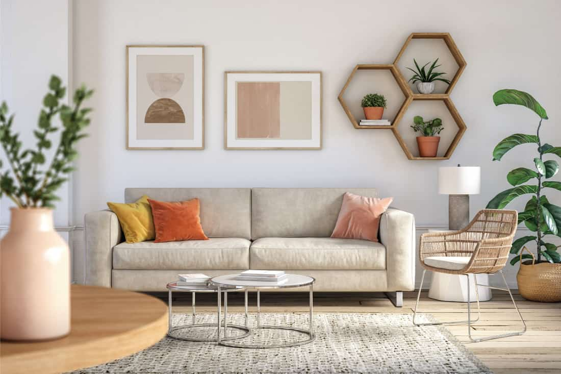Bohemian living room interior 3d render with beige colored furniture and wooden elements, Wicker and Metal Chair in Bohemian Setting