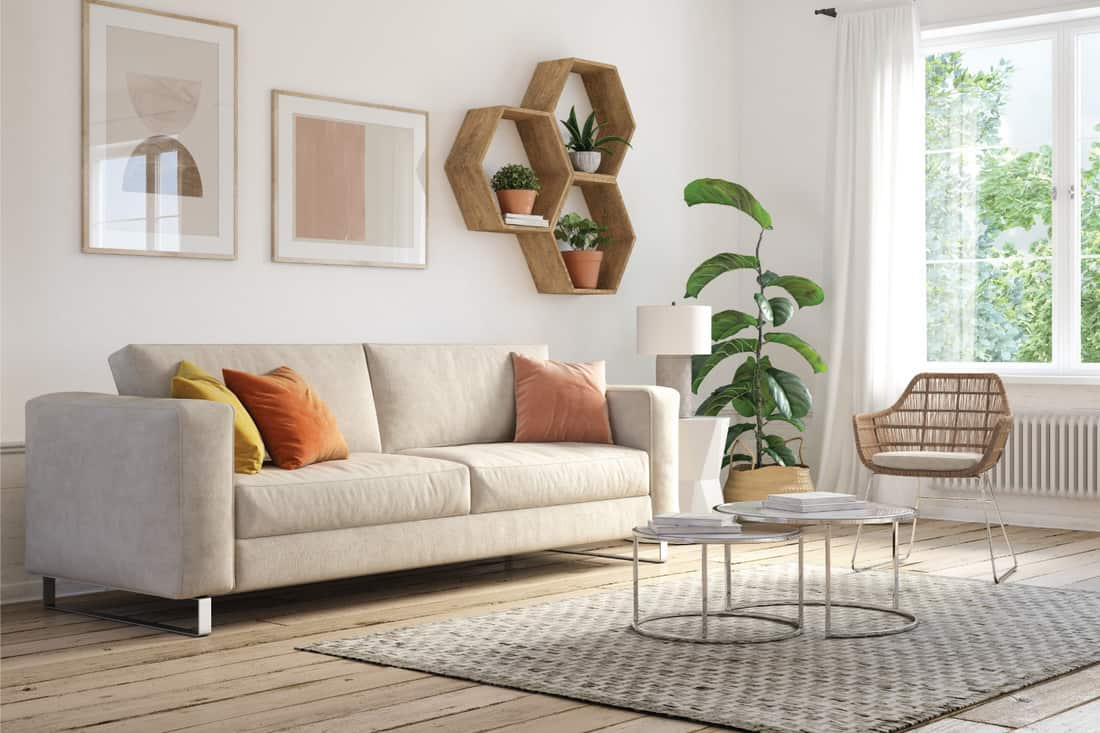 Bohemian living room with beige colored furniture and wooden elements