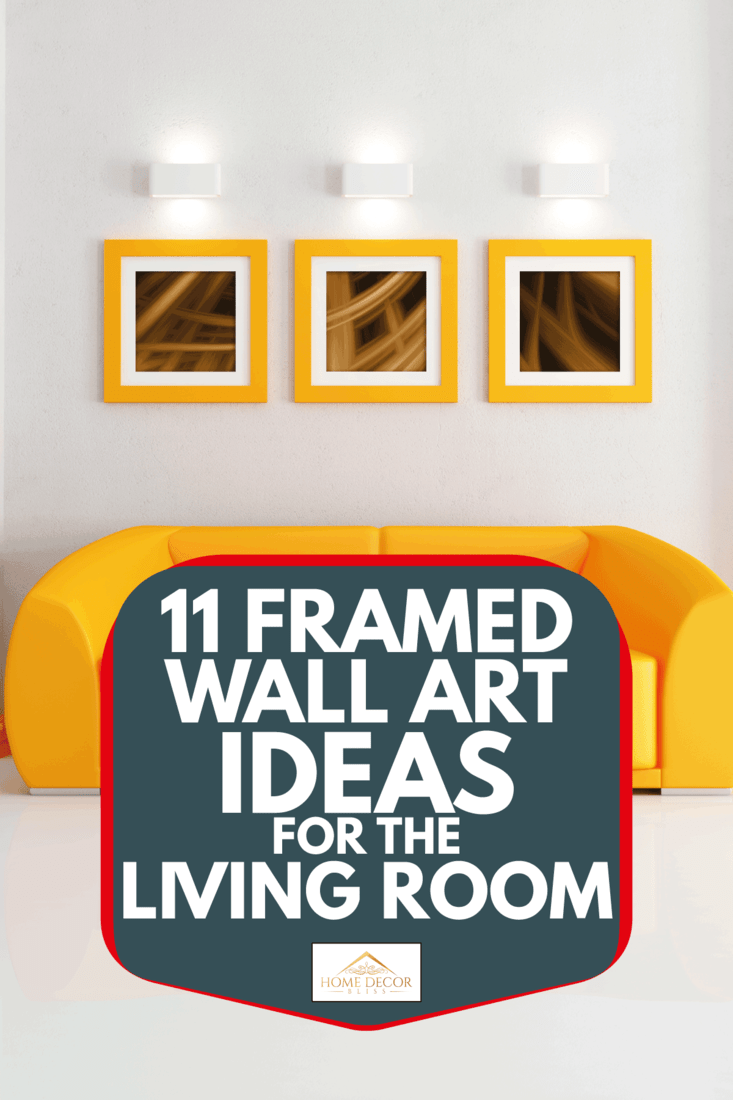 Bright orange and white living room with framed abstract photos hung on the wall. 11 Framed Wall Art Ideas For The Living Room