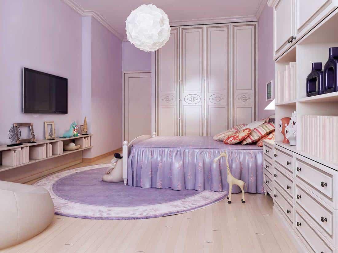 Bright purple and white bedroom interior