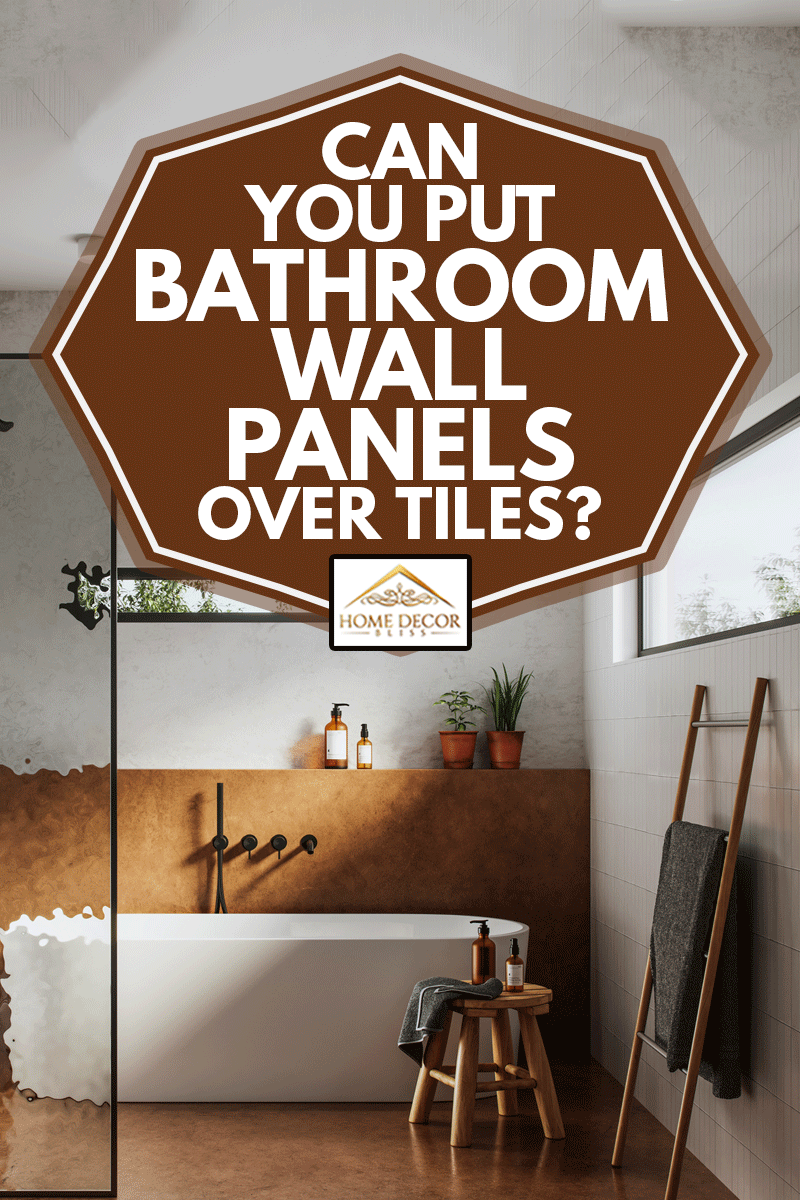 image of a domestic bathroom interior with toilet and bathtub, Can You Put Bathroom Wall Panels Over Tiles?