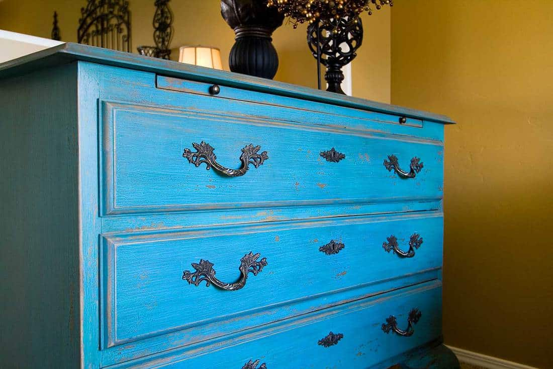 Close up on the drawers of a dresser
