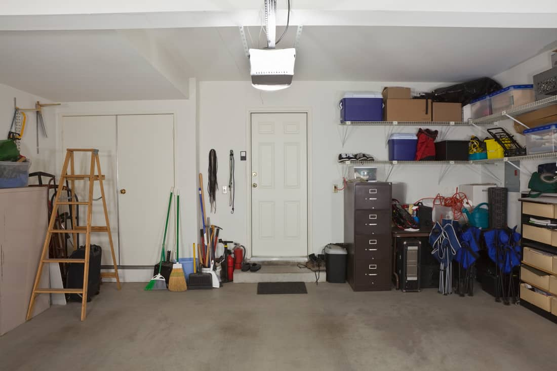 Common two car garage in a modern suburban home.