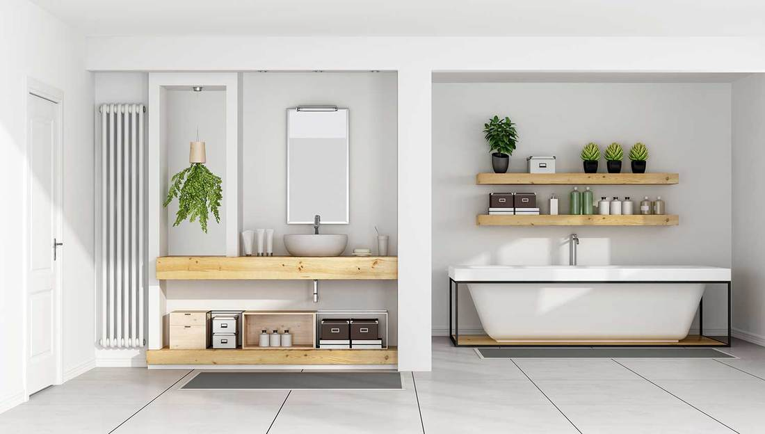 Contemporary white bathroom with sink on wooden shelf and bathtub
