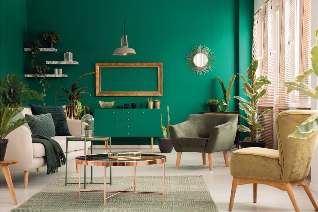 Copper table on rug between beige sofa and armchair in green spacious living room. Vibrant Green Wall And Blended Console Table