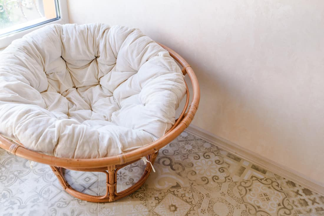 Cozy and comfortable round accent chair. Home interior furniture