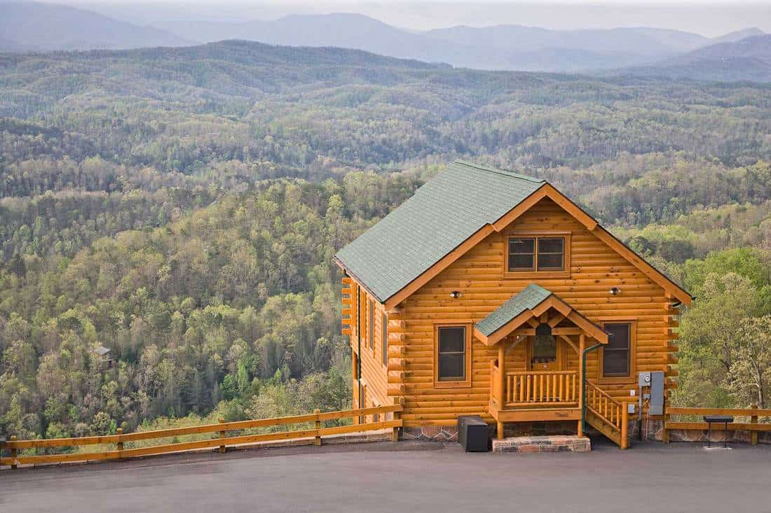 Cozy cabin catches a view of the smoky mountains