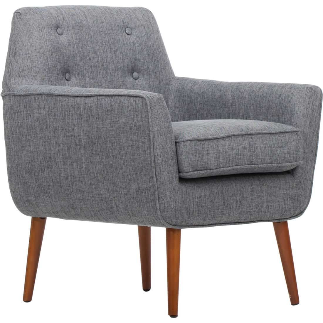 Dark Gray Living Rolled Top Club Chair. Dark Gray Chair With Wood Frame