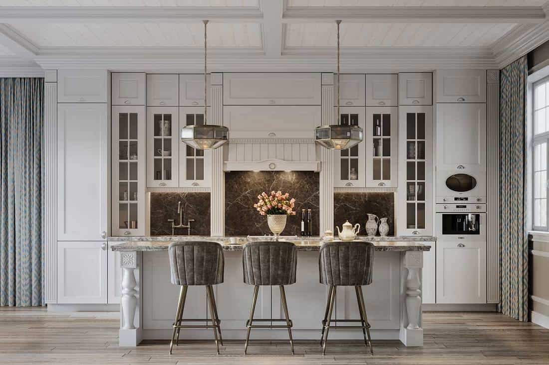 Dining area in a beautiful modern kitchen from a large house