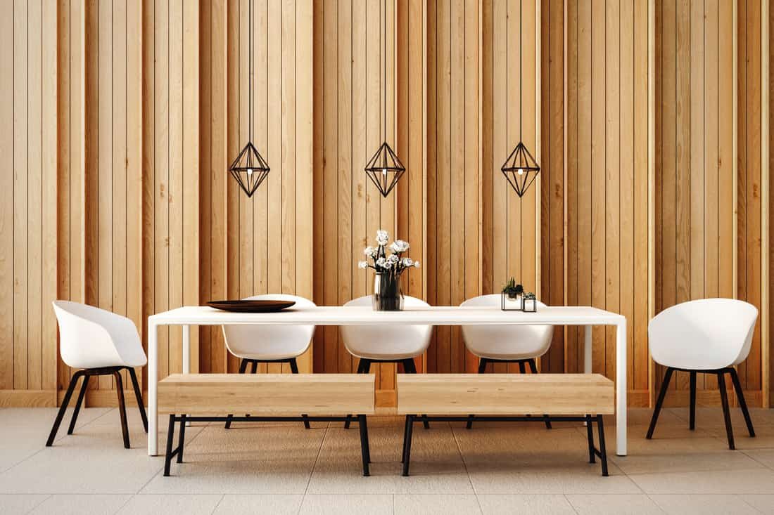 Dining set modern and loft. wooden wall panels, white table and chairs