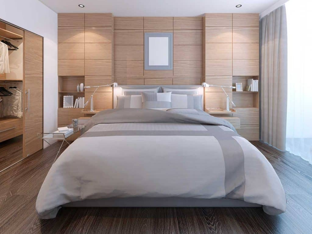 Elegant bedroom with wall decoration