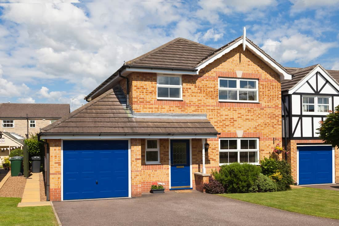 Elegant house with blue garage