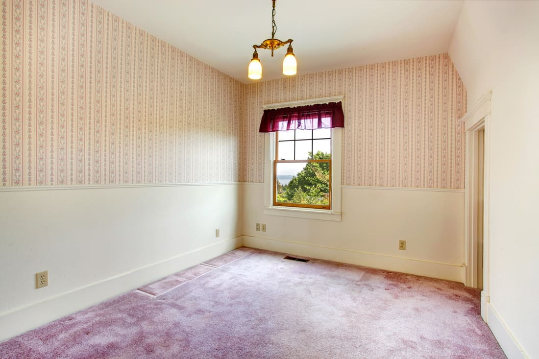 Empty small purple room in old house with Dainty Purple Statement Valance