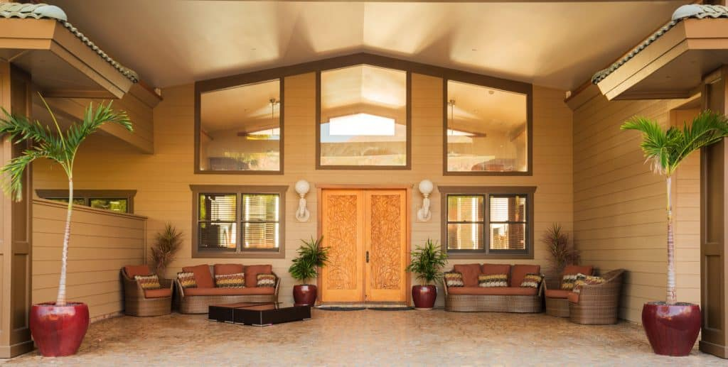 Entrance to Luxury Home that brings the indoor elements out