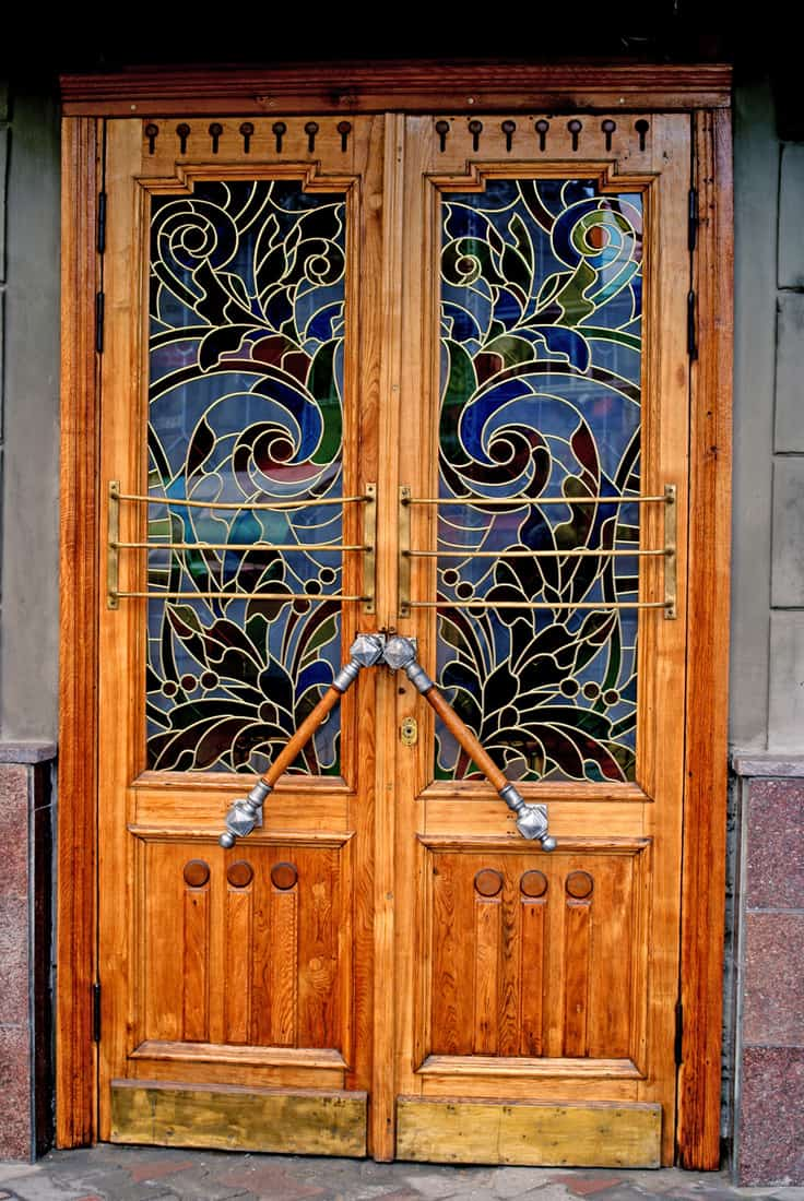 Front door with stained glass
