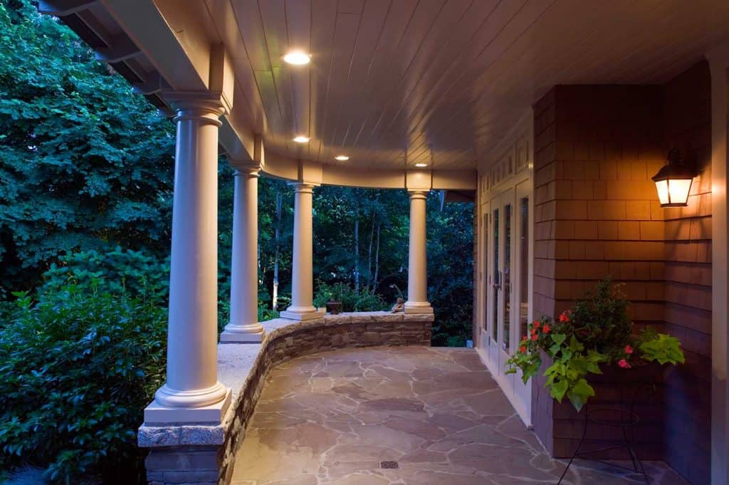Front porch of a luxury estate home