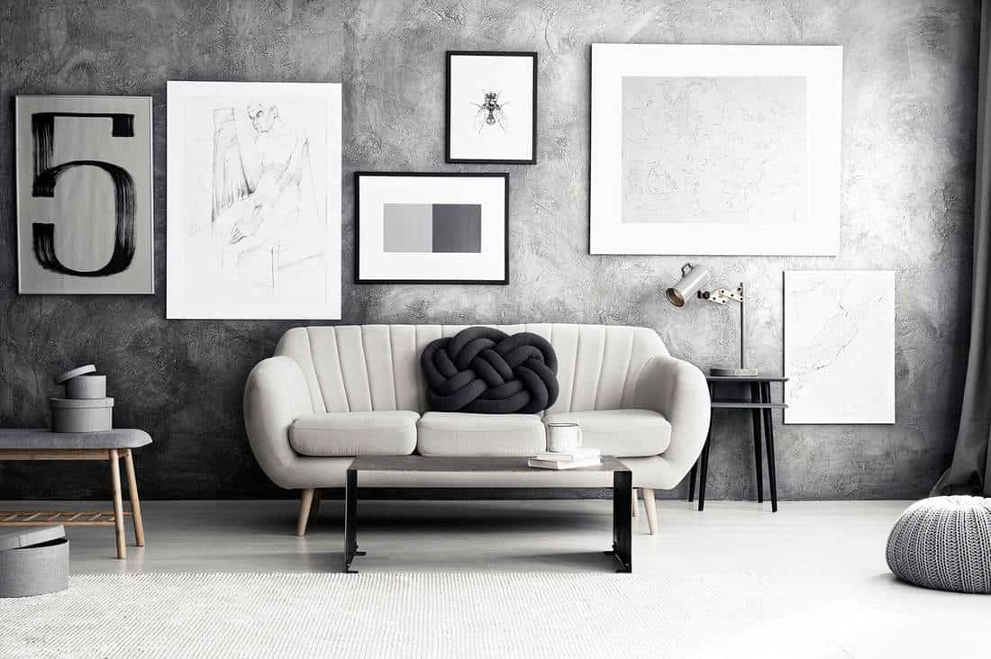 Gallery on wall in cozy living room