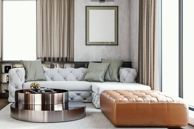 Gorgeous modern interior of a luxurious living room with a fabric sofa mixed with brown leather sofa, Can You Mix Leather And Fabric Furniture?