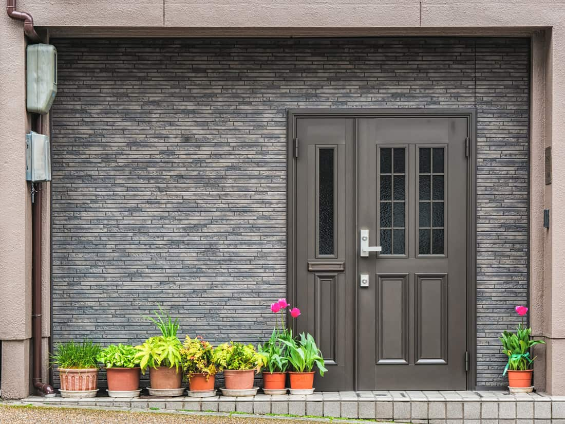 Gray front door with small square decorative windows and tiled concrete wall with flower pots in fron of it