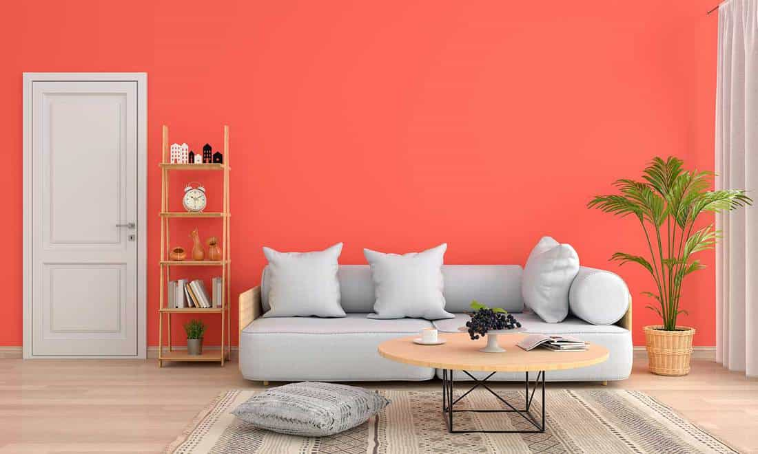 Gray sofa and table in orange living room
