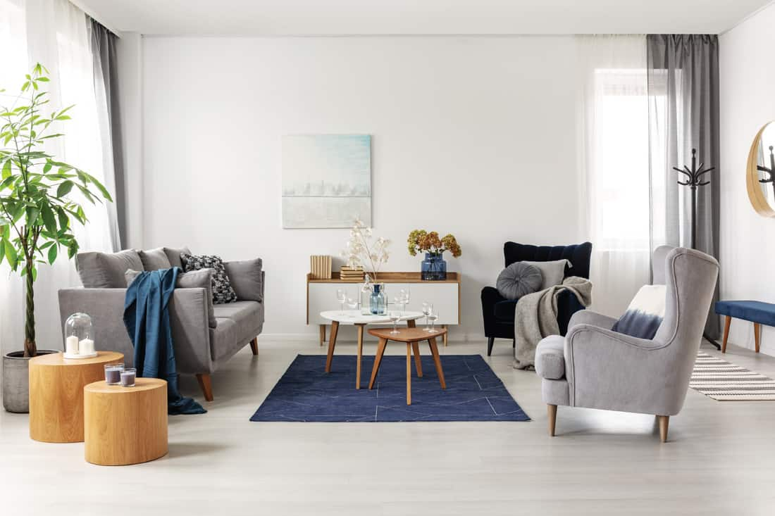 Grey and navy blue living room interior with comfortable sofa and armchairs, The Comfortable Contemporary Chair
