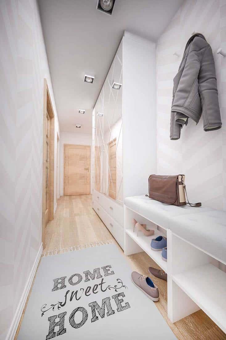 Home hallway with wooden door