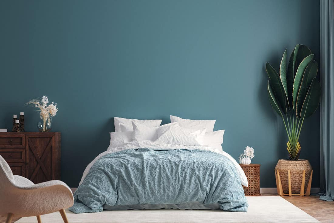 Home interior mock-up background, dark green bedroom with potted palm