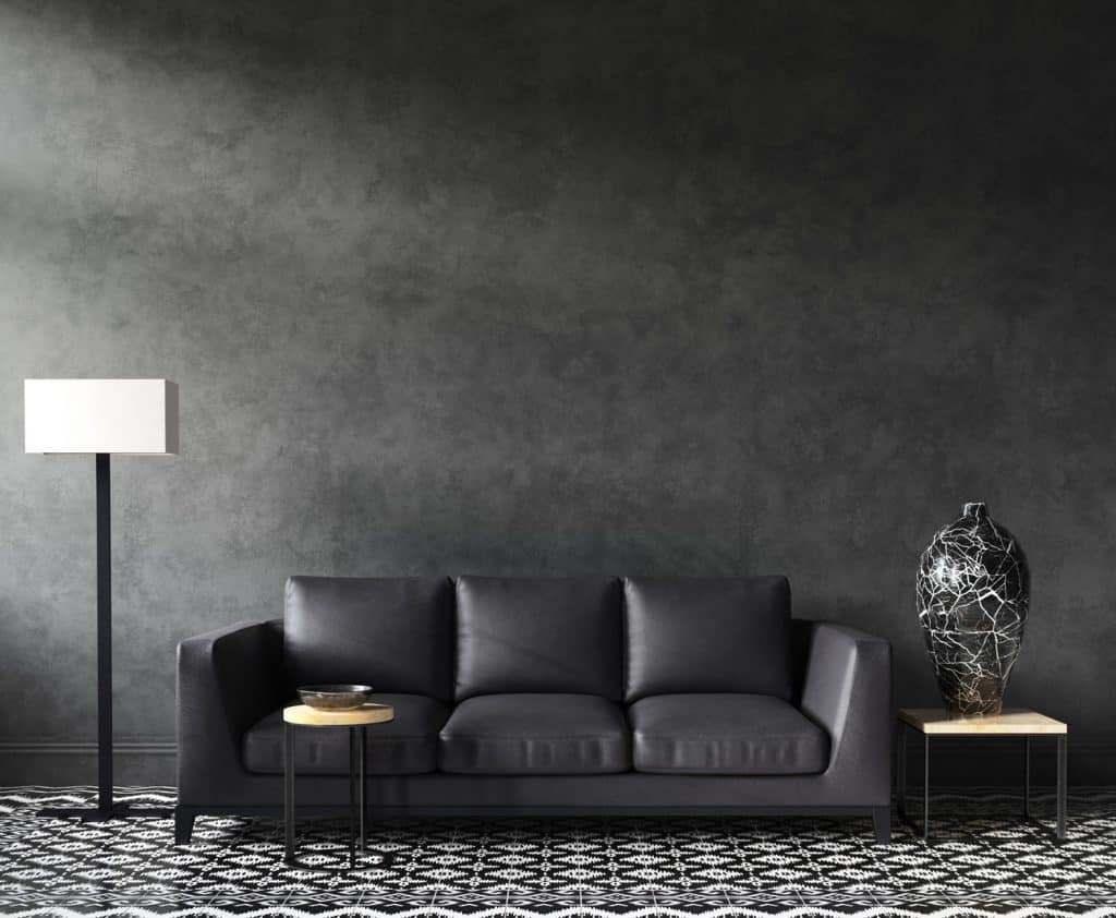 Grey couch, Home interior mock-up with sofa and decor, black stylish loft living room,
