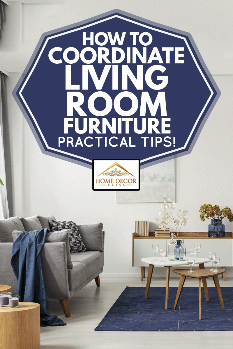 Grey and navy blue living room interior with comfortable sofa and armchairs, How To Coordinate Living Room Furniture - Practical Tips!