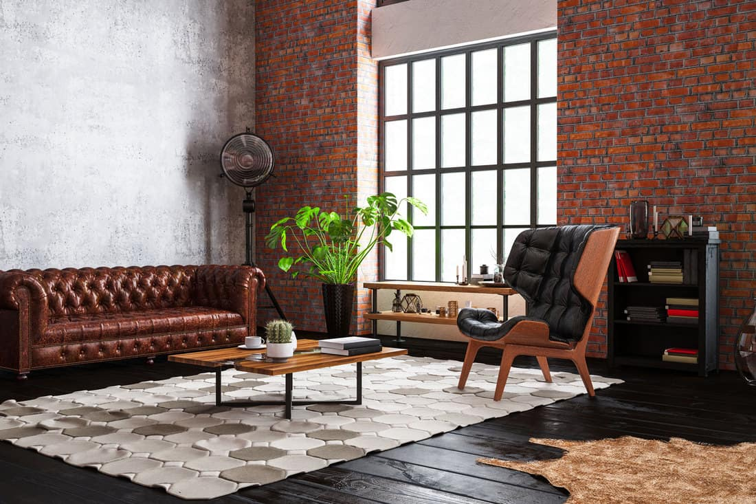 Industrial Style Loft Apartment with chesterfield sofa