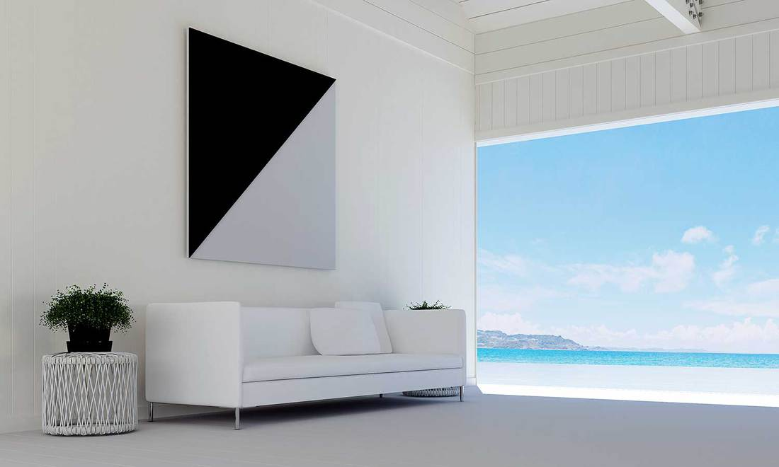 Interioir design of modern sofa living room, picture frame and sea view