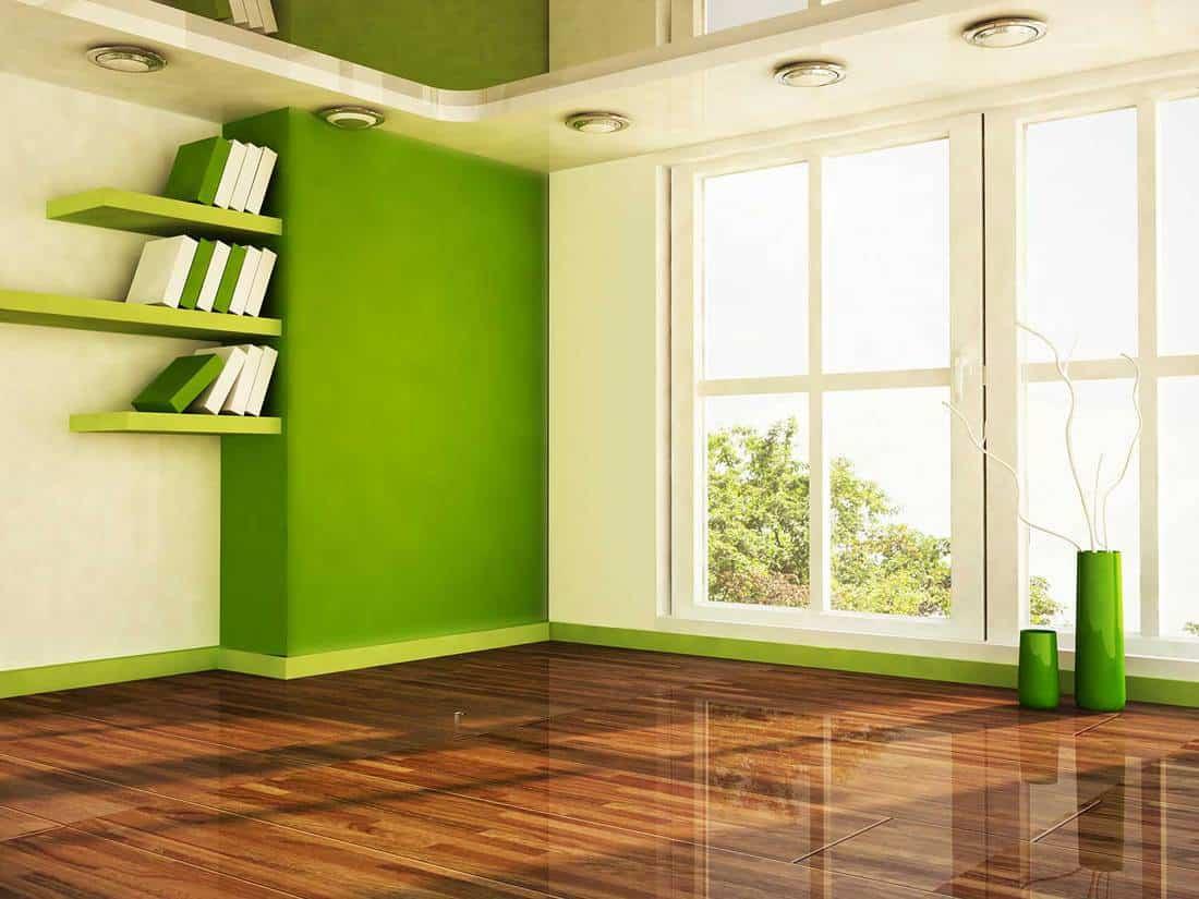 Interior design scene with a big window