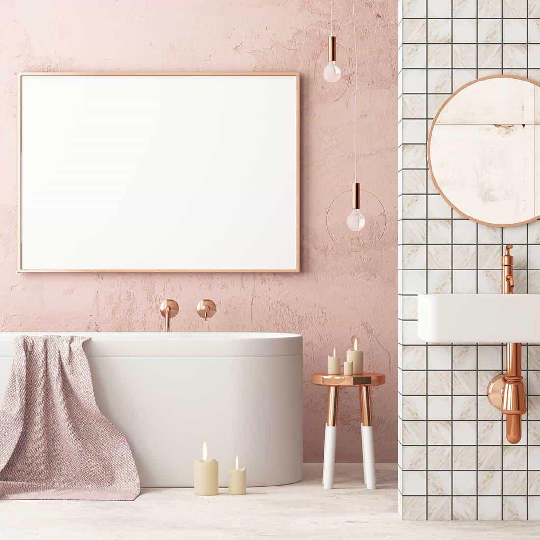 Interior of a bathroom in Art Deco style