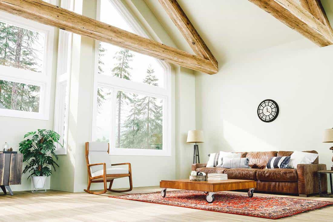 Interior of a rustic style large living room in the forest