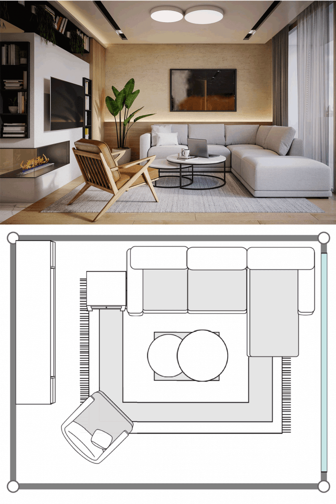 Interior of a small compact living room with a secitonal sofa, round coffee table, and an awesome wall mount TV with bookshelf on the side