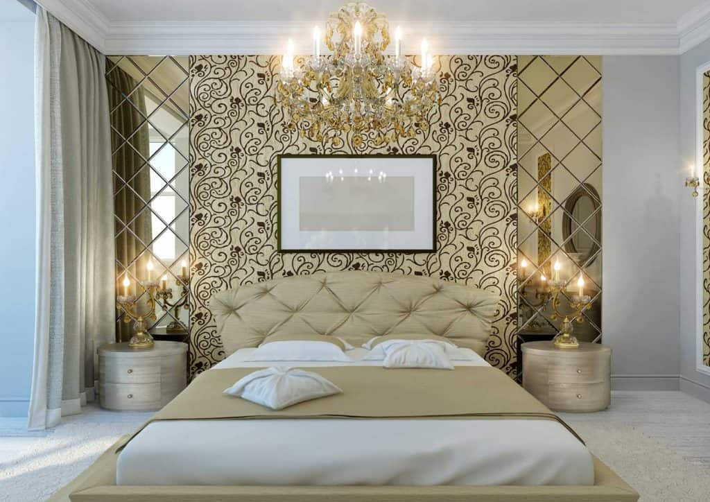 Interior of classic bedroom in gold colors