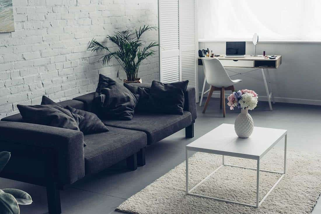 Interior of modern living room with couch, brick wall and workplace with laptop