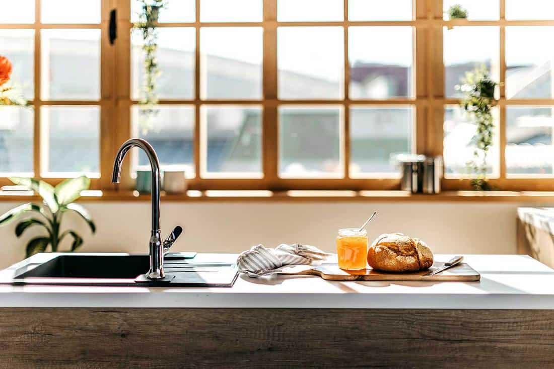 Kitchen counter with bread and honey