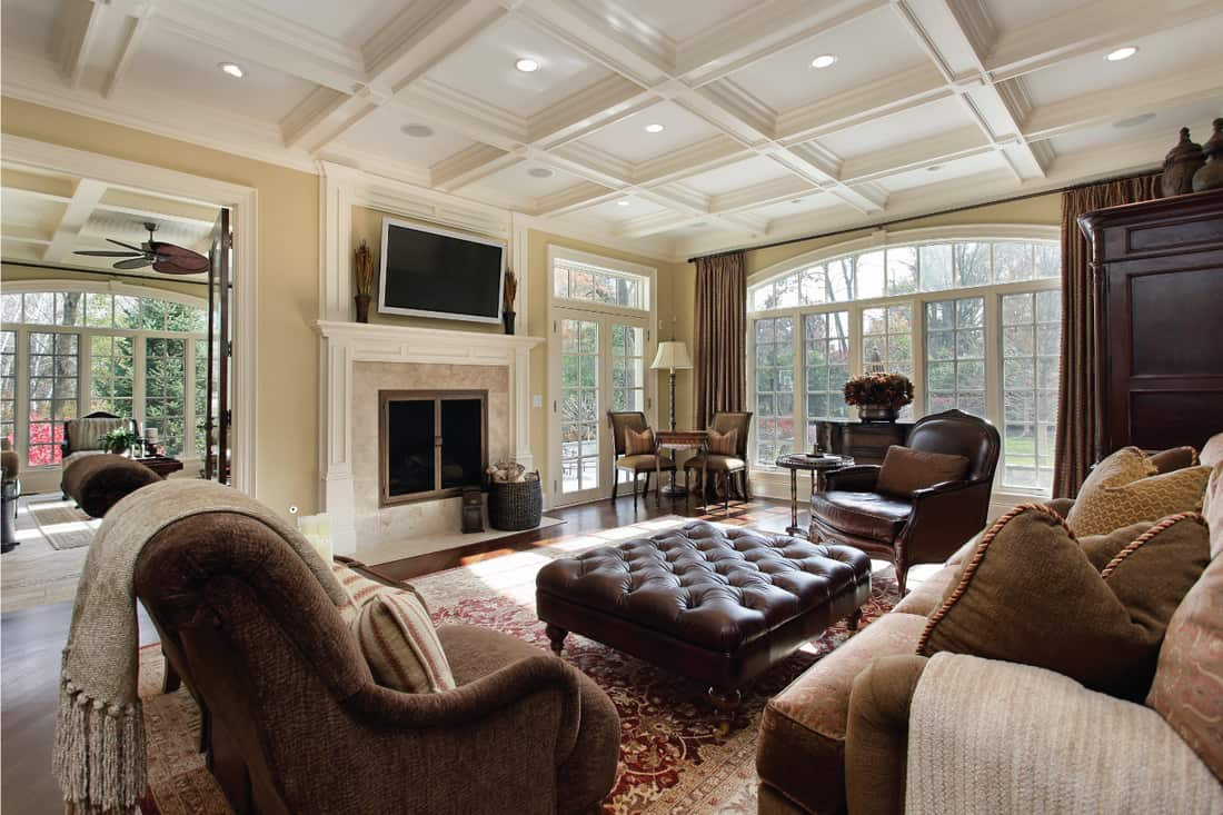 Large family room with fireplace and Neutral Walls