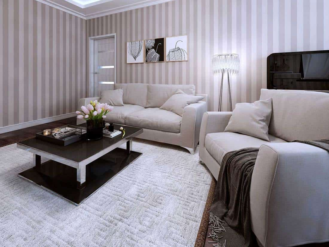 Living room in modern style with cozy sofa and black coffee table